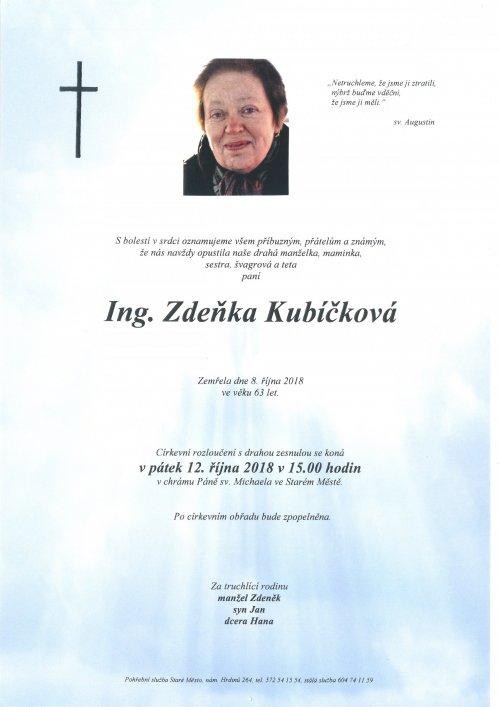 Poslední rozloučení s naší kolegyní Ing. Zdeňkou Kubíčkovou